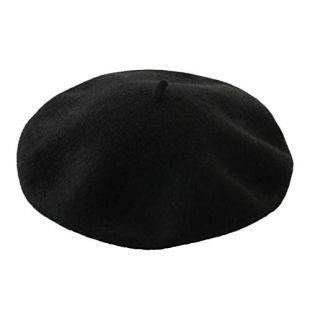 DECOU Solid Color Classic French Artist Beret Hat 100% Wool (Black)