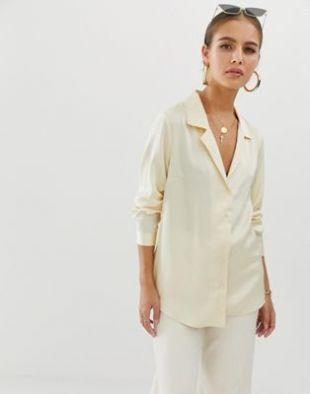 ASOS DESIGN relaxed satin long sleeve shirt | ASOS