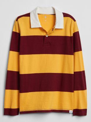 Rugby Stripe Long Sleeve Polo Shirt