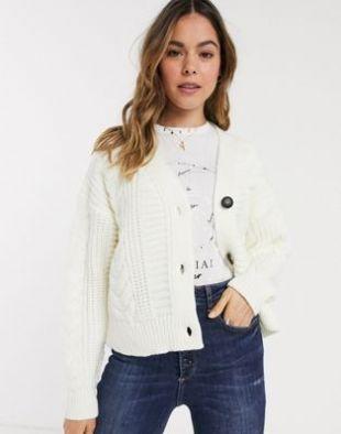 New Look - Cardigan en maille torsadée - Blanc cassé | ASOS