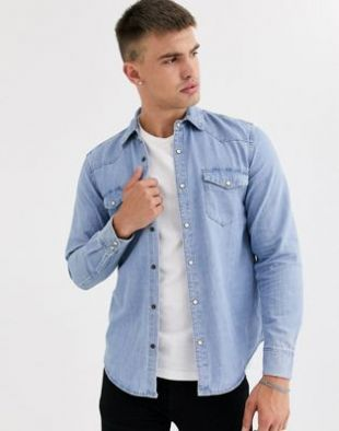Pull&Bear - Chemise en jean style western - Bleu   ASOS