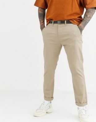 Pull&Bear - Join Life - Pantalon chino habillé coupe ajustée - Beige | ASOS