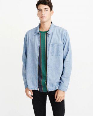 Full-Zip Denim Shirt