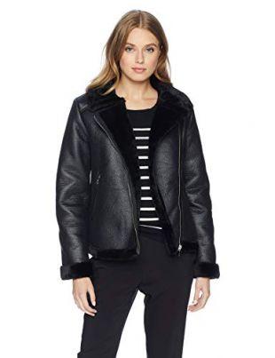 Nanette Lepore Women's Vegan Shearling Jacket, Black, L
