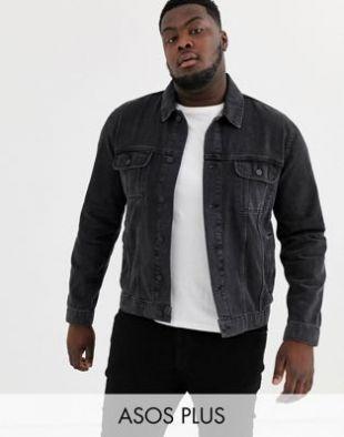 ASOS DESIGN Plus - Veste en jean classique - Noir délavé | ASOS