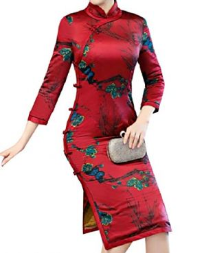 Unastar Womens Mid-Long Pencil Dress Printed Comfort Chinese Qipao Dress Red S