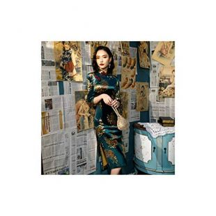 Women Autumn Velvet Cheongsam Qipao Peacock Printing Chinese Traditional Dress,Green Peacock Qipao,4XL