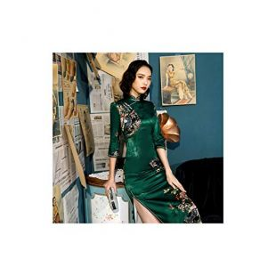 China Long Sleeve Cheongsam Fan Pattern Long Qipao Silk Plus Size Women Clothing,Green Classic Qipao,M