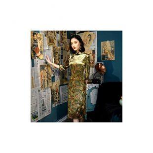 Chinese Dresses for Women Gold Velour Cheongsam Dress Improvement Autumn Qipao,Green Print Qipao,XXL