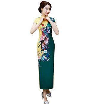 SOLOVEDRESS Women's Classic China Dress Embroidery Cheongsam Chisese Qi Pao Long for Girls (Green, US 10)