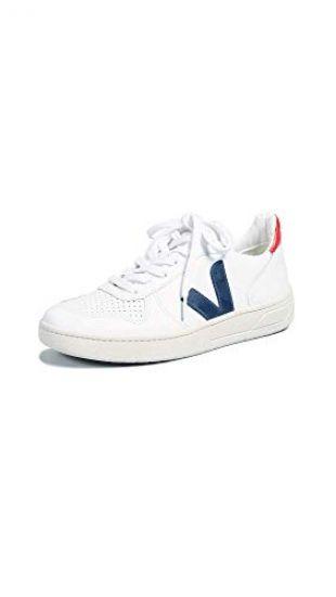 Veja Women's V-10 Sneakers, White/Nautico/Pekin, 5 Medium US