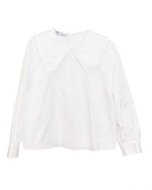 Zara Women Poplin Blouse with Peter pan Collar 2688/643/250 (X-Large) White