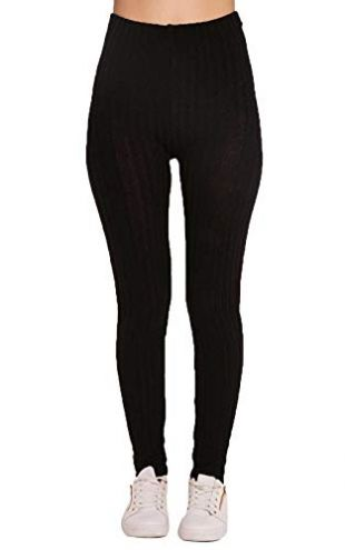 Cima Mode Ladies Plain Warm Thick Chunky Cable Ladies Ribbed Knitted Leggings Size 6-24 Black