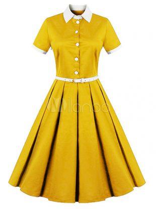 Vintage Dress 1950s Women Yellow Shirt Dress Short Sleeve Midi Dress Belted Retro Swing Dress