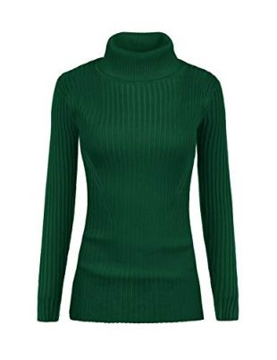 v28 Women Stretchable Turtleneck Knit Long Sleeve Slim Fit Sweater (Medium, TurGreen)