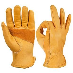 OZERO Flex Grip Leather Work Gloves Stretchable Wrist Tough Cowhide Working Glove 1 Pair (Gold, Medium)
