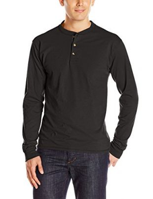 Hanes Men's Long-Sleeve Beefy Henley T-Shirt - Small - Ebony
