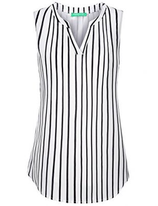 Kimmery Striped Tank Tops for Women, Ladies Sleeveless Office Blouses Notch V Neck High Low Hem Business Casual Wear Chiffon Tops Nice Chic Stunning Flattering Work Clothes White Black Stripes