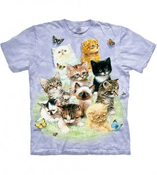 The Mountain 10 Kittens Adult T-Shirt, Purple, Small