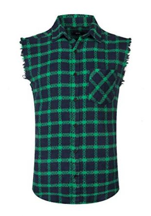 NUTEXROL Mens Sleeveless Plaid Fannel Shirt Casual Checked Cotton Vest Green S