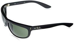 RB4089 Balorama Rectangular Sunglasses, Black/Green, 62 mm