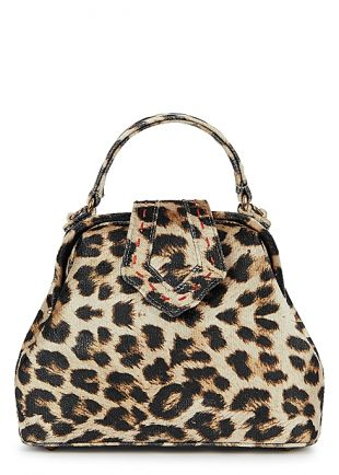 Mini Leopard Print Velvet Top Handle Bag
