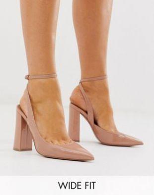 ASOS DESIGN - Pace - Chaussures pointure large à talon haut carré - Beige   ASOS