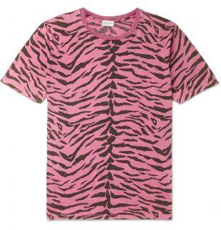 Pink Zebra-Print Cotton-Jersey T-Shirt