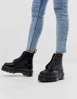 Sinclair Black Leather Zip Chunky Flatform Boots