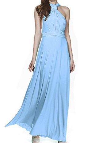 Women Transformer Infinity Evening Dress Multi-Way Wrap Convertible Halter Maxi Floor Long Dress High Elasticity Light Blue