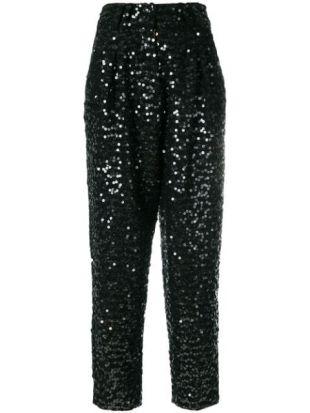 Pantalon Droit à Sequins Brodés
