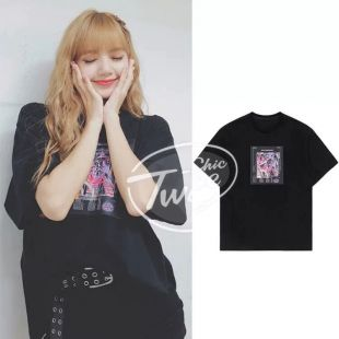 Blackpink LISA same hip hop Round neck loose T shirt women korean summer wild Harajuku Black short sleeve tshirt girl tops-in T-Shirts from Women's Clothing on AliExpress