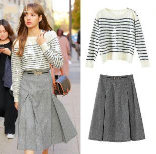 Blackpink Lisa Paris mode semaine même Sequin rayé col rond tricoté pull et gris jupes lâches dames deux pièces ensemble on AliExpress