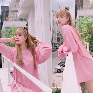 LISA 2019 nouveau rose sweat large femmes Coréen kawaii col rond pull streetwear sweats femme vêtements-in Sweats à capuche et sweat-shirts from Mode Femme et Accessoires on AliExpress