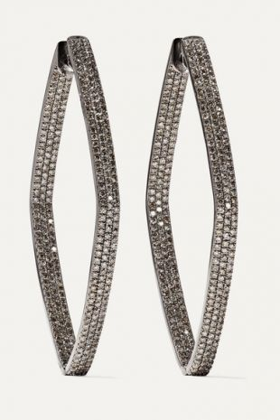Rhombus 18 Karat Blackened White Gold Diamond Hoop Earrings
