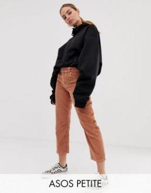 ASOS DESIGN Petite - Florence - Pantalon droit authentique en velours côtelé - Biscuit | ASOS