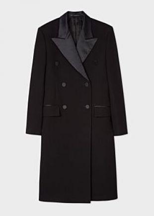 Manteau Femme Noir Boutonnage Croisé Et Revers Satinés En Laine