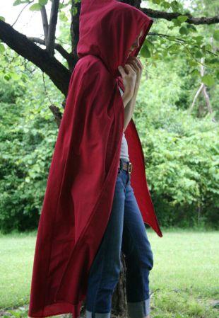 Cape à capuche   adulte, rouge