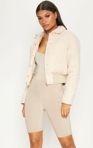 Beige Peach Skin Cropped Puffer Jacket