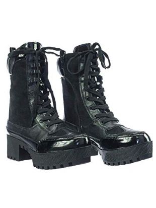 Commander Black Contrast Panel Lace Up Combat Lug Sole Booties Boots (9)