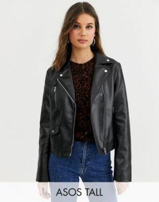 ASOS DESIGN Tall ultimate faux leather biker jacket in black | ASOS