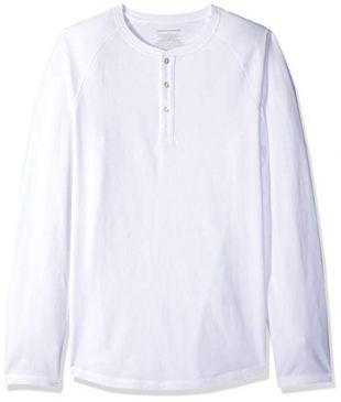 Amazon Essentials Men's Slim-Fit Long-Sleeve Henley Shirt, White, Large