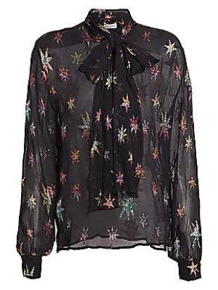 Saint Laurent - Metallic Star Sheer Button-Down Shirt