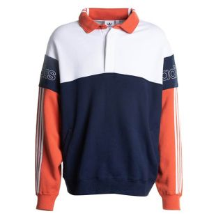 adidas Originals Rugby Sweatshirt With Three Stripes in Navy and White