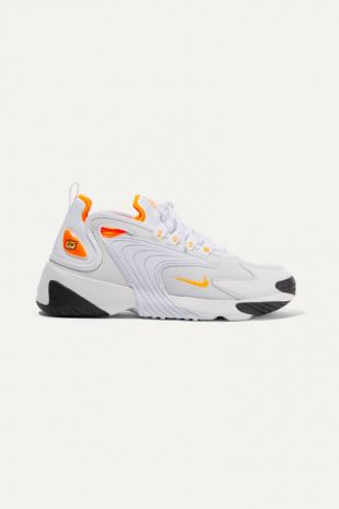 Zoom 2K Neon Trimmed Leather And Mesh Sneakers