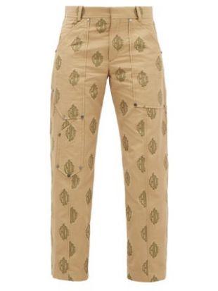 Logo Jacquard Cropped Cotton Trousers
