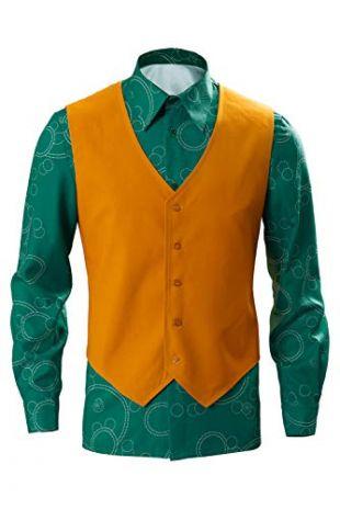 DIFFERONE Men's Joker 2019 Cosplay Shirt Joaquin Phoenix Vest Waistcoat Fancy Top Suits Halloween Cosplay Costume Unisex (X-Small, Shirt + Vest)