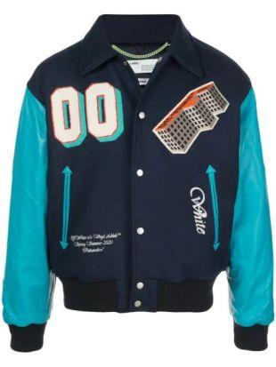 Blue Colourblock Bomber Jacket
