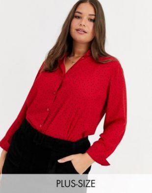 New Look Curve - Chemise à pois - Rouge   ASOS