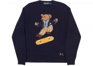 Palace Ralph Lauren Skate Polo Bear Sweater Aviator Navy